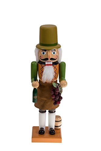 Italian Nutcracker by Clever Creations | Wearing Vineyard Outfit | Holding Grapes and a Bottle of Wine | Fun Christmas Decor | Perfect Addition to Any Collection | 100% Wood | 14″ Tall