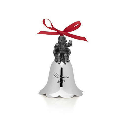 Wallace 2017 Nickel Plated Santa Bell Ornament, 26th Edition