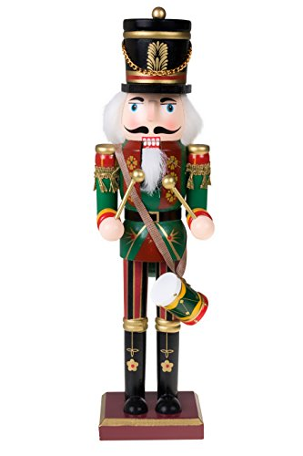 "Traditional Drummer Soldier Nutcracker by Clever Creations |Wearing Green Uniform With Drum | Collectible Wooden Christmas Nutcracker | Festive Holiday Decor |100% Wood | 12"" Tall"