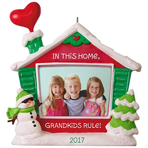 Hallmark Keepsake 2017 Grandkids Rule! Picture Frame Dated Christmas Ornament