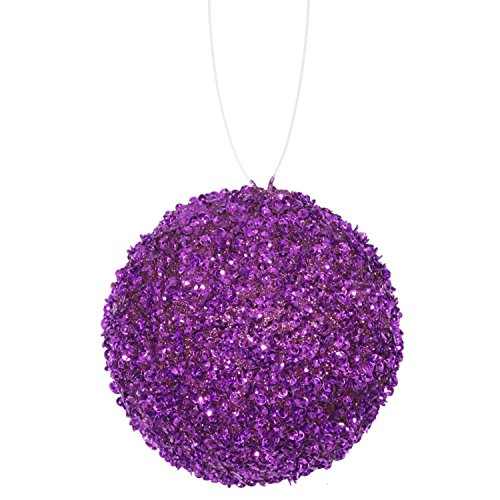 Vickerman 4 Count Majesty Sequin and Glitter Drenched Christmas Ball Ornaments, 4″ (100mm), Purple, 4 Piece