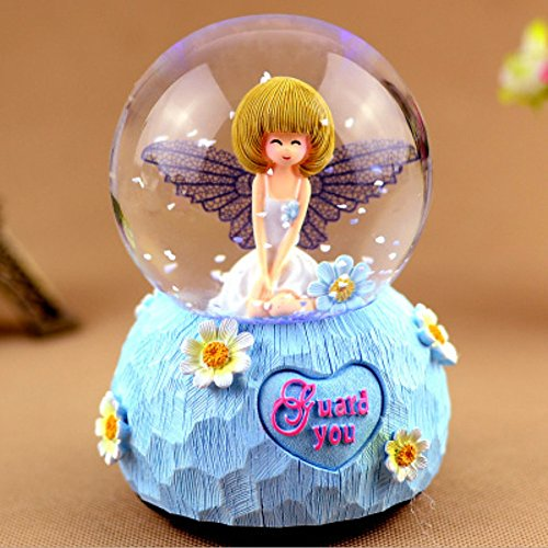 Angel Musical Snowglobe, Cute Lovely Waterglobe Round Decor Collection Glitter Dome Fake Falling Snowflakes LED Water Ball Crafts Crystal Snow Globe Gift for Valentine's Day Christmas Holiday