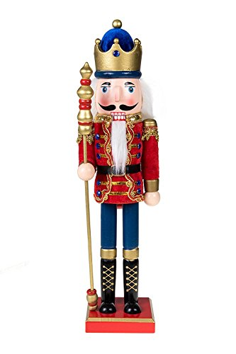 Traditional Wooden Royal King with Gold Crown Nutcracker by Clever Creations | Red Cape and Gold Crown and Scepter | Festive Christmas Decor | 15″ Tall Perfect for Shelves and Tables | 100% Wood