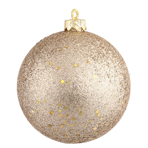 Vickerman Sequin Finish Seamless Shatterproof Christmas Ball Ornament with Drilled Cap, 6 per Bag, 4″, Champagne
