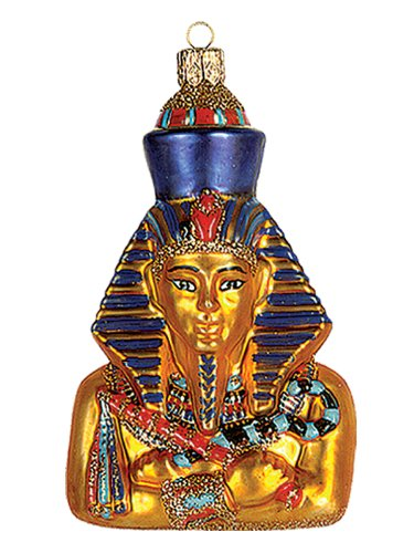 Egypt Pharaoh Akhenaten Polish Mouth Blown Glass Christmas Nament