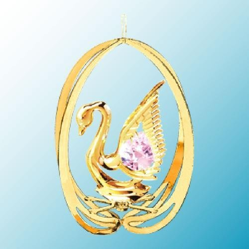 24k Gold Swan in Elipse Ornament – Pink Swarovski Crystal