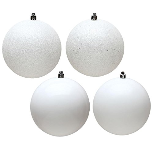 Vickerman 482926 – 4″ White Ball 4 Assorted Finishes Christmas Tree Ornament (Set of 12) (N591011A)