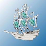 Chrome Plated Sailboat Free Standing – Green – Swarovski Crystal
