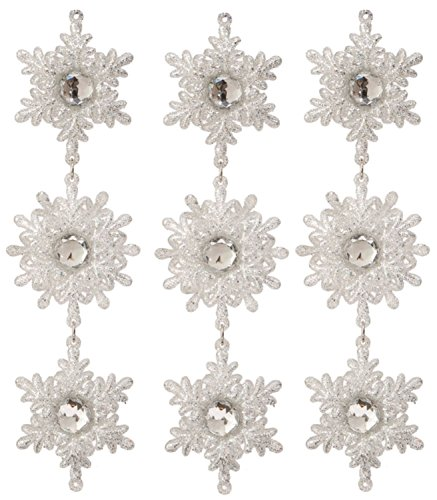 SET OF THREE! Silver Glitter 6 point Snowflake with Faceted Faux Jewel Center Drop Christmas Ornament 9″ SET of THREE (SILVER)