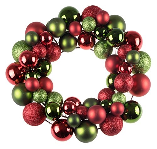 Christmas Ornament Wreath by Clever Creations | Bright Red & Green | Festive Holiday Décor | Classic Theme | Lightweight Shatter Resistant | Great for Indoor/Outdoor Use | 12″ Diameter