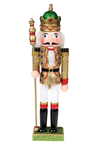 Traditional Wooden King Nutcracker by Clever Creations | Gold and Green Glitter | Festive Ornate Christmas Decor | 12″ Tall Perfect for Shelves and Tables | 100% Wood