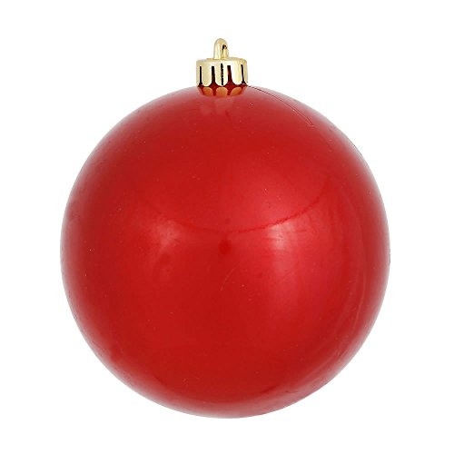 Vickerman Candy Finish Seamless Shatterproof Christmas Ball Ornament, UV Resistant with Drilled Cap, 12 per Bag, 3″, Red