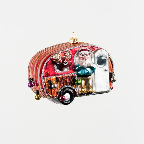 Retro Red Silver Airstream style RV Camper Trailer with Santa and Reindeer Camping Christmas Ornament, 1 Piece