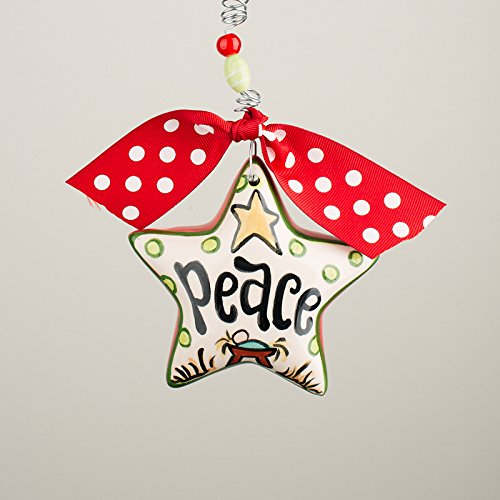 Glory Haus 4 x 4 Peace Star Puff Ornament, Multicolor
