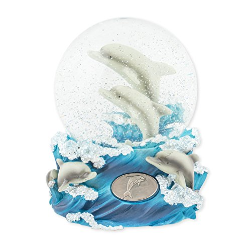 Playful Dolphins 100mm Resin Glitter Water Globe Plays Tune Blue Daube Waltz