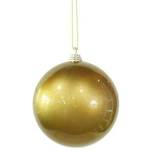 Vickerman 4″ Antique Gold Candy Finish Christmas Ball Ornament, 4 per Box