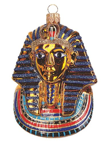 Egyptian Mask of King Tut Polish Mouth Blown Glass Christmas Ornament Decoration