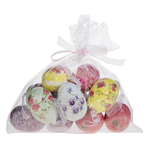 Set of 12 Painted Floral Egg Ornaments: Easter Egg Decor by RAZ Imports (Pastels)