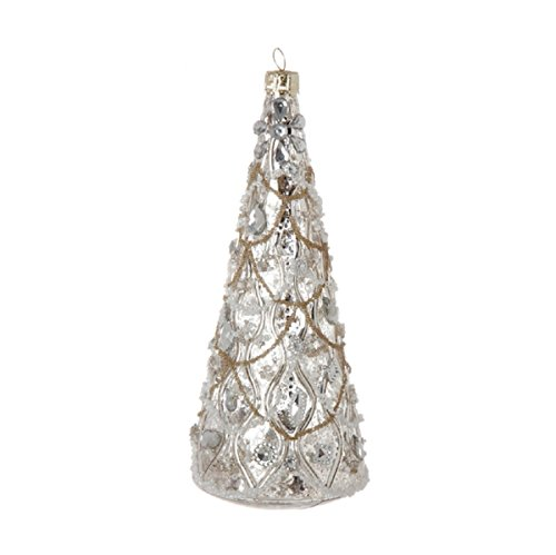 Christmas Hand-blown Gem & Bead Encrusted Tree-Shaped Ornament