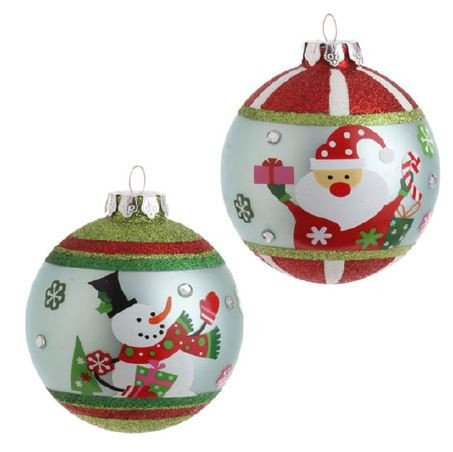 RAZ Imports – Santa & Snowman Glass Ball Ornaments – Set of 2