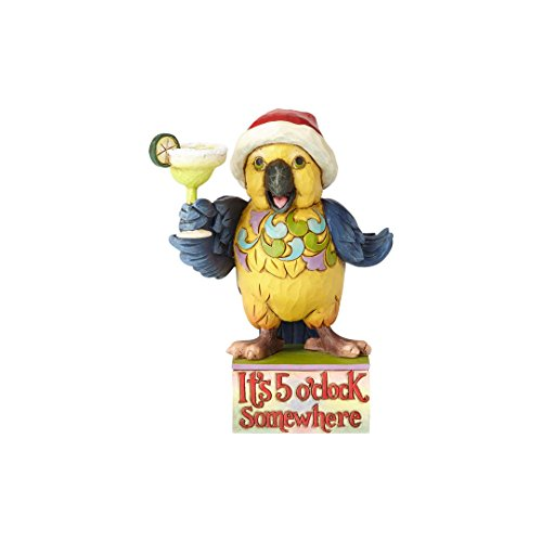 Enesco Jim Shore Heartwood Creek Margaritaville Pint-Size Parrot with Margarita Stone Resin Figurine, 4.75""