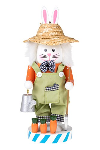 Gardening Bunny Spring Nutcracker by Clever Creations | Wearing Straw Hat and Brown Overalls | Watering Can and Shovel | Collectible Wooden Nutcracker | Festive Holiday Decor | 100% Wood |10″ Tall
