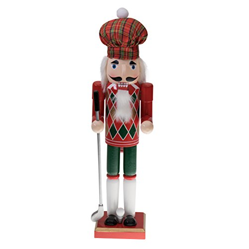 "Golfer Nutcracker by Clever Creations | Christmas Plaid Hat and Festive Red and Green Argyle Design on Front | Holding Club | Perfect for Shelves and Tables | Collectible Wooden Nutcracker | 15"" Tall"