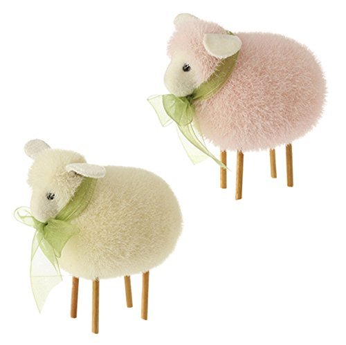 RAZ Imports Easter Spring Decor – Adorable Pink & White Lambs 2 Asst.