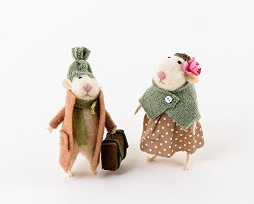 Traveling Mouse Ornaments Set of 2 Made of Felt So Cute Adorable