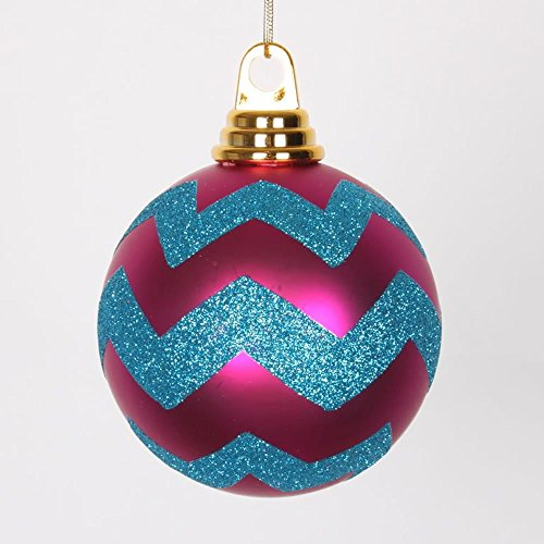 4″ Cerise-Turquoise Matte/Glitter Chevron Ball Christmas Ornament, 4 per Box