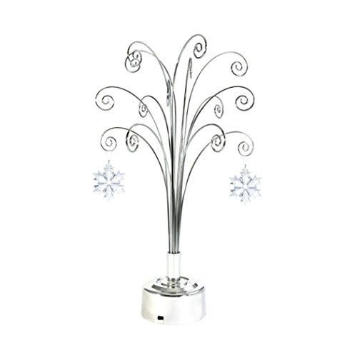 for Swarovski 2018 Annual Christmas Snowflake Crystal Ornament Rotating Stand Gift 16.75inch (Chrome)