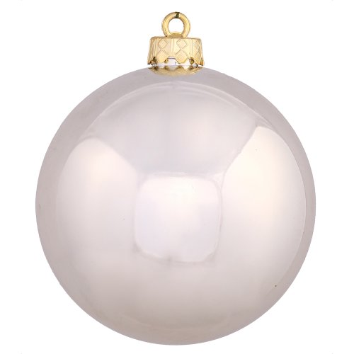 Vickerman Shiny Finish Seamless Shatterproof Christmas Ball Ornament, UV Resistant with Drilled Cap, 24 per Bag, 2.4″, Champagne