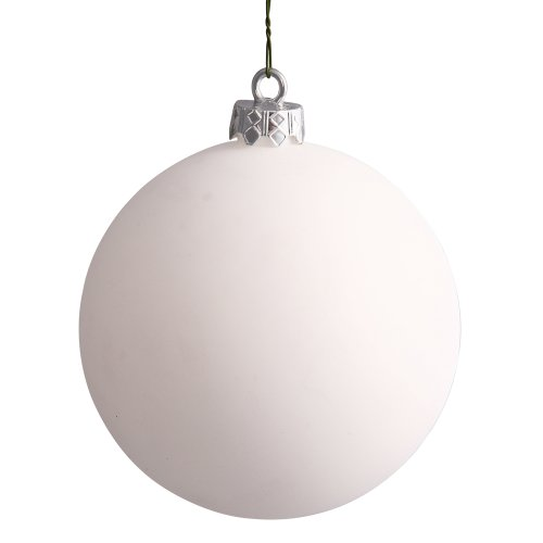 Vickerman Matte White UV Resistant Commercial Drilled Shatterproof Christmas Ball Ornament, 8″