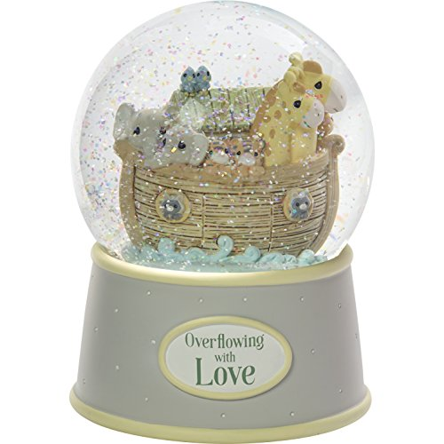 Precious Moments Overflowing with Love Noah's Ark Musical Resin Nursery Decor Snow Globe Figurine 173432
