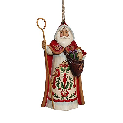 Enesco Jim Shore Heartwood Creek Austrian Santa Stone Resin Hanging Ornament, 4.5""