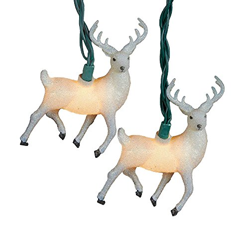 Kurt Adler UL 10-Light Glitter Reindeer Light Set, White