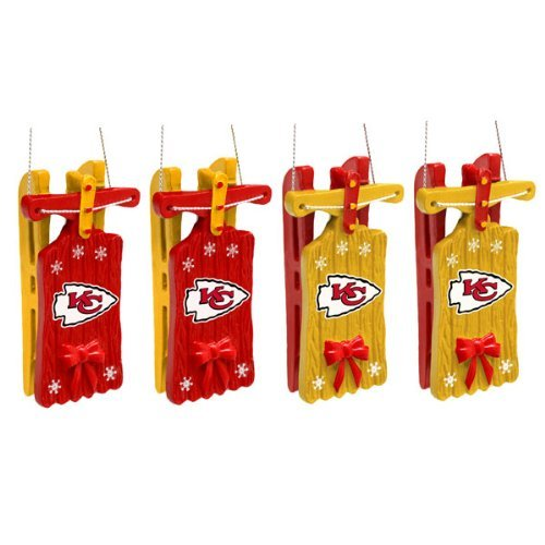Kansas City Chies NFL Christmas Hanging Sleigh Ornament 4-Pack