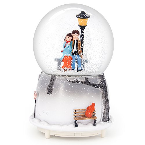 QTMY Musical Snow Globes Ornament Couple Lovers Music Boxes with Led Light Christmas Gift for Her Girls