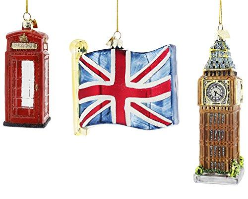 Kurt Adler Noble Gems Glass England British Ornaments (England 3 Piece Set)