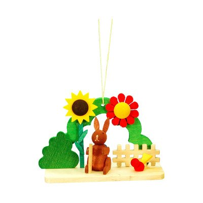 "11-0205 – Christian Ulbricht Ornament – Rabbit with Flowers – 2″""H x 3″""W x 1.25″""D"