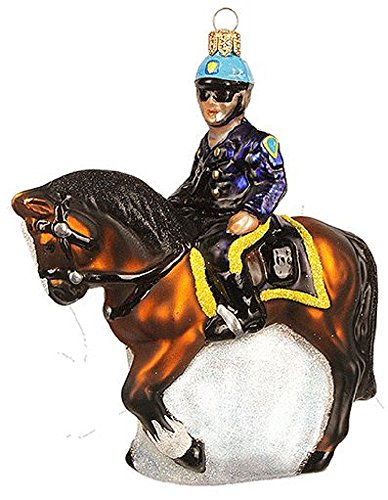 NYPD Mounted Police Polish Glass Christmas Tree Ornament New York City NYC Horse