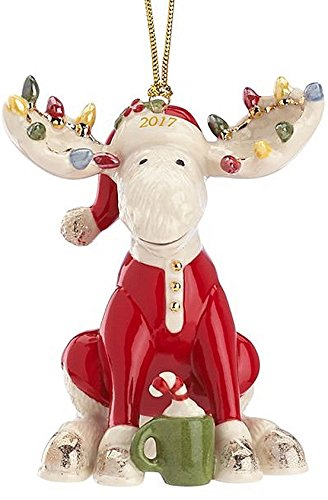Lenox 2017 Marcel The Bedtime Moose Ornament Red pajamas Eggnog Candy cane