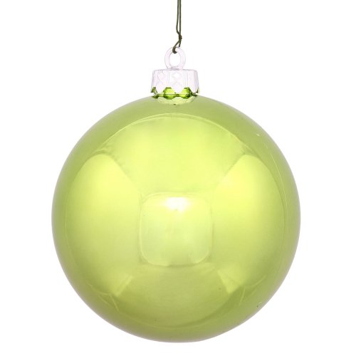 Vickerman Shiny Lime Green UV Resistant Commercial Shatterproof Christmas Ball Ornament, 6″