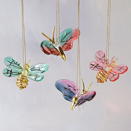 Glass Bee or Moth Ornament (Moth with Red and Blue Wing)