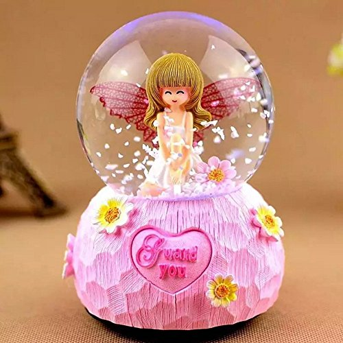 Electric Pink Snow Globe, Art Angel Snowglobe Glitter Dome Collection Home Decor Accents LED Waterglobe With Music Lights Love Gift for Girls Best Friends