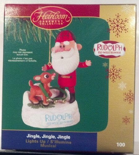Carlton Heirloom Collection Light & Music Ornament Rudolph Red-Nosed Reindeer 'Jingle, Jingle, Jingle' -2006