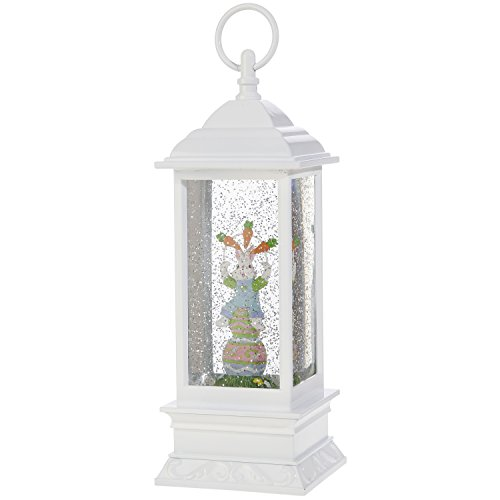 Lighted Snow Globe Lantern: 11 Inch, White Holiday Water Lantern by RAZ Imports (Rabbit with Carrots)