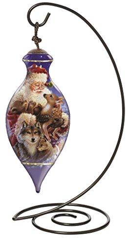 "Ne'Qwa Brilliant Shaped Glass Ornament with Classic Hanging Stand, ""Santa's Woodland Friends"" Artist Dona Gelsinger, #7131137"