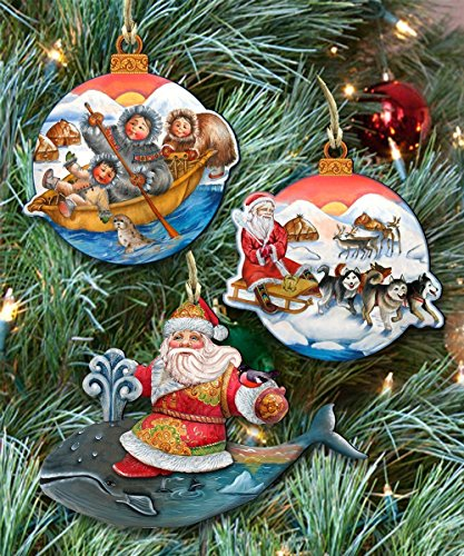 Alaska Christmas Keepsake Wooden Ornaments Set of 3 8100003S3