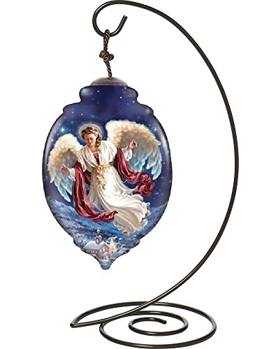 "Ne'Qwa Trillion-Shaped Glass Ornament With Classic Hanging Stand, ""Peace On Earth"" Artist Dona Gelsinger, #7141110"